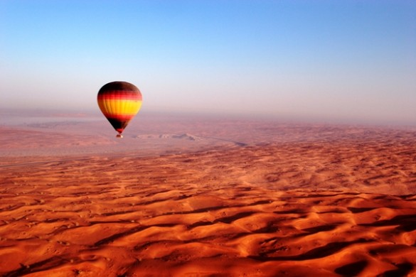 A Balloon Adventures Dubai trip over the desert near Fossil Rock.