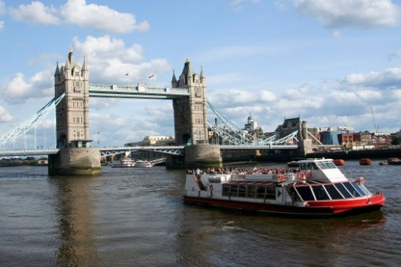 tower bridge crossing the thames river in london england