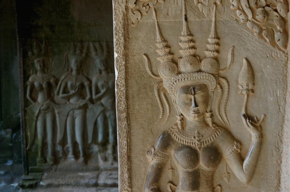 Apsaras au 3ème niveau du temple d'Angkor Vat