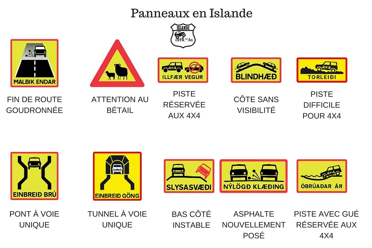 panneaux routiers islande